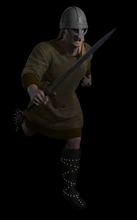 norse: Illustration of a Viking Warrior running with sword on a black background, 3d digitally rendered illustration