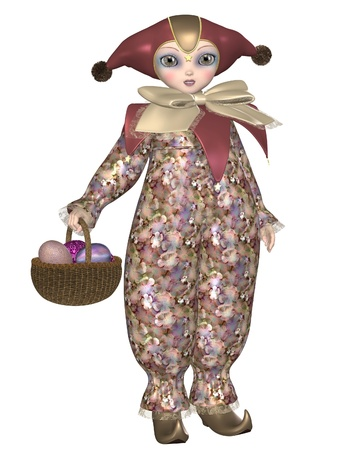 pantomime: Cute Pierrot style clown doll from traditional French pantomime with a basket of Easter Eggs, 3d digitally rendered illustration Stock Photo