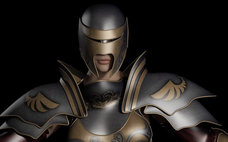 Close up portrait illustration of a female warrior in decorated fantasy armour against a dark background, 3d digitally rendered illustration