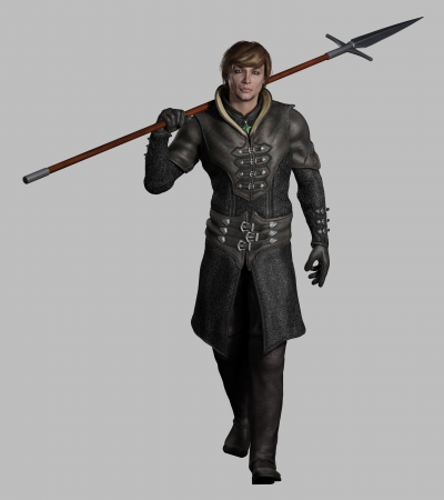 Illustration of a Late Medieval, Renaissance or fantasy style spearman in black leather armour on a grey background, 3d digitally rendered illustration