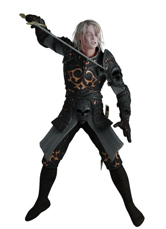 Illustratie van een donkere ridder dragen van zwarte harnas met zwaard, 3d digitaal teruggegeven illustratie Stockfoto