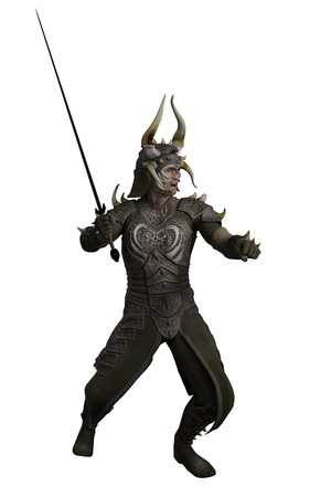 swordsman: Illustration of a Knight in horned dragon armour carrying a sword, 3d digitally rendered illustration