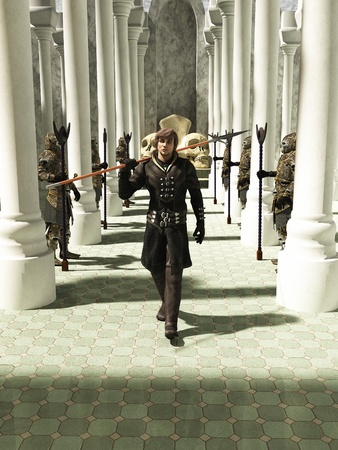 spearman: Illustration of a Late Medieval, Renaissance or fantasy style spearman in black leather armour walking through a pillared hall or throneroom, 3d digitally rendered illustration