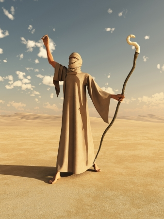 nomad: Illustration of a robed desert nomad sorcerer or magician with magical staff, 3d digitally rendered illustration