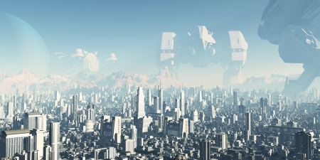 Future City - Veterans of Forgotten Wars  Giant derelict war machines overshadowing a futuristic sci-fi city, 3d digitally rendered ilustration photo