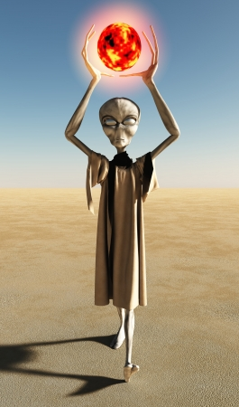 terrestrial: Grey robed alien science fiction creature holding a glowing red orb, 3d digitally rendered illustration