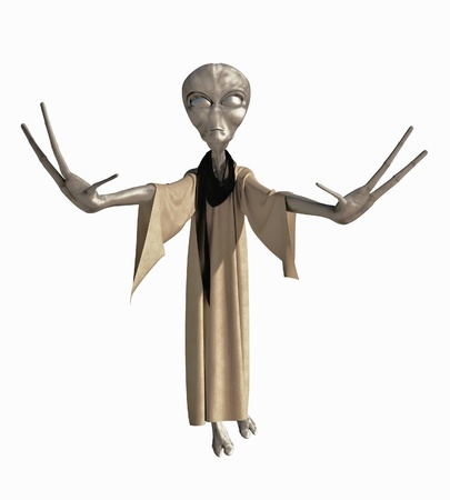 cowl: Grey robed alien science fiction creature with hands outstretched, 3d digitally rendered illustration isolated on a white background