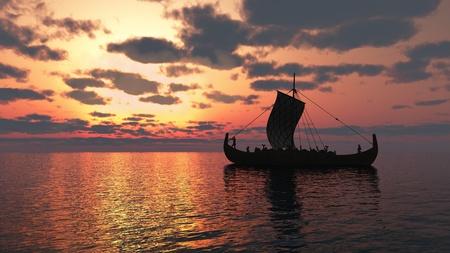 vikingo: Vela barco vikingo en un mar tranquilo en la puesta del sol, 3d digital rindi� la ilustraci�n