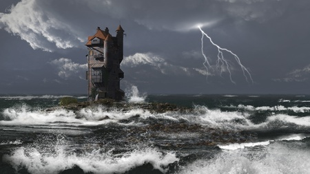 Mediaeval or fantasy tower on a rocky island in a stormy sea, 3d digitally rendered illustration illustration