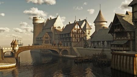 중세 또는 판타지 물가 마을 부두, 디지털 그림 렌더링 된 3D