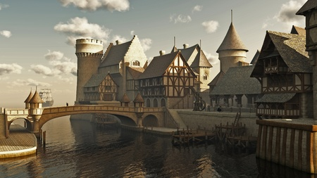 Medieval or fantasy waterside town docks, 3d digitally rendered illustration