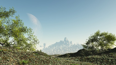 planet futuristic: Pathway through a rural countryside landscape to a futuristic sci-fi city, 3d digitally rendered ilustration