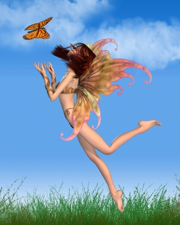 Illustration of a pretty red-haired fairy with orange make-up and wings dancing with a butterfly in the summer, sunshine, 3d digitally rendered illustration illustration