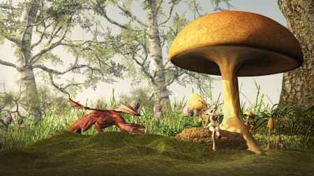 Illustration of a Red dragon creeping up on a pretty blonde fairy sitting under a toadstool in a fairytale forest, 3d digitally rendered illustration illustration