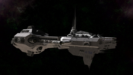 starship: Science fiction gunship in deep space, 3d digitally rendered illustration