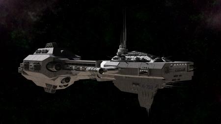 starship: Science fiction gunship in deep space, 3d digitally rendered illustration