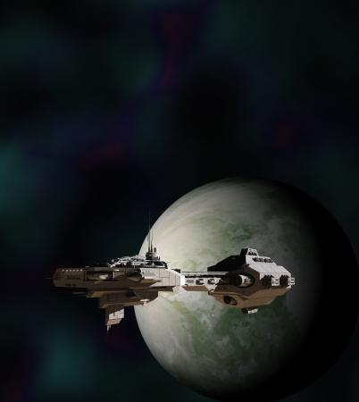 Science fiction gunship in een baan rond een vreemde wereld, 3d digitaal teruggegeven illustratie