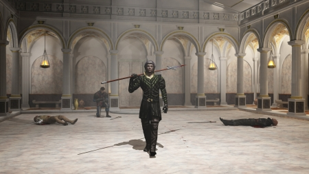 spearman: Illustration of a fantasy style spearman in black leather armour leaving a training hall as the victor, with wounded men lying and kneeling on the floor, 3d digitally rendered illustration