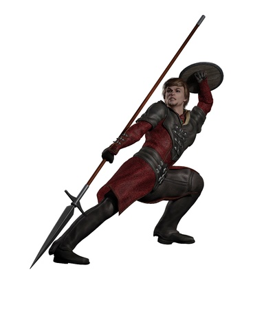 buckler: Illustration of a Late Medieval, Renaissance or fantasy style spearman in black leather armour in a fighting pose, 3d digitally rendered illustration