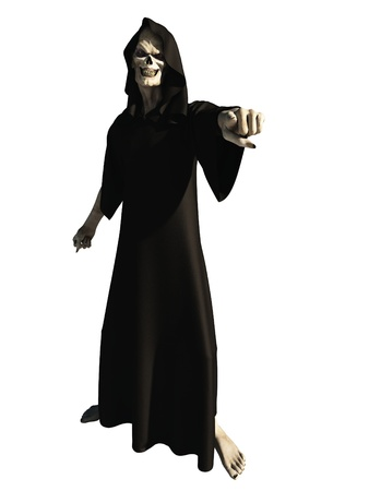 Illustration of a robed figure of death pointing towards the viewer, 3d digitally rendered illustration Stock Illustration - 18954011