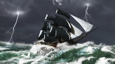Tall ship sailing in heavy seas in a lightning storm, 3d digitally rendered illustration