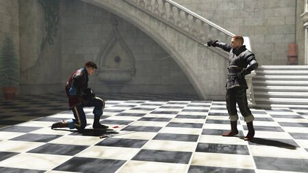 wounded: Illustration of two men in a sunny courtyard fighting a duel to first blood, 3d digitally rendered illustration