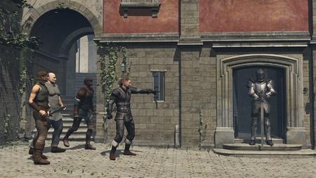 malandros: Ilustraci�n de una pandilla de rufianes callejeros estilo medieval o de la fantas�a a punto de atacar a un caballero con armadura, 3d rindi� la ilustraci�n digital