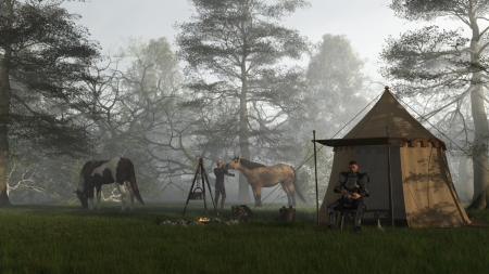 Illustration of a Medieval knight in fifteenth century Milanese armour and his squire in their camp at early morning, 3d digitally rendered illustration Stock Photo