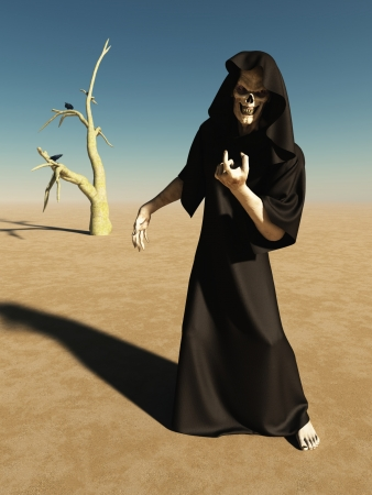 barren: Illustration of a beckoning figure of death in an empty desert landscape, 3d digitally rendered illustration Stock Photo