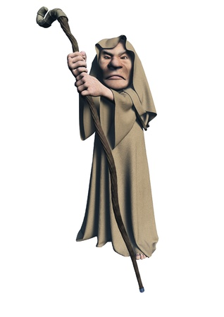 Illustration of a toon mystic druid character in brown robes carrying a wooden staff, 3d digitally rendered illustration Foto de archivo