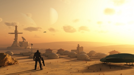 Illustration of a space marine trooper discovering an alien village on a sandy desert planet, 3d digitally rendered illustration