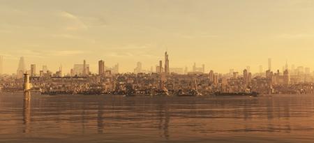 Futuristische science fiction kuststad met dokken, 3d digitaal teruggegeven ilustration