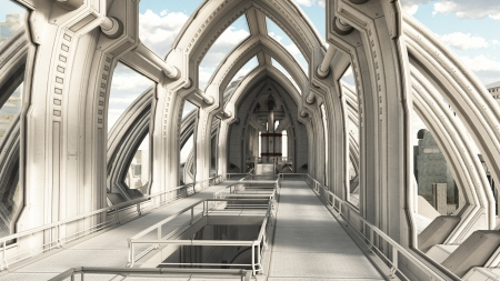 steel bridge: View inside a building in a futuristic sci-fi city, 3d digitally rendered illustration