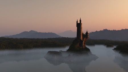 misty: Wizards tower on a lake island at sunrise, 3d digitally rendered illustration
