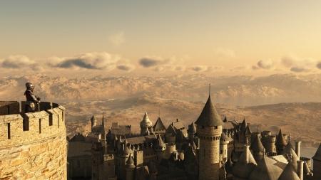 espadas medievales: Ilustraci�n de un caballero armado vigilando una colina de la ciudad medieval desde las almenas de un castillo de piedra, 3d rindi� la ilustraci�n digital Foto de archivo