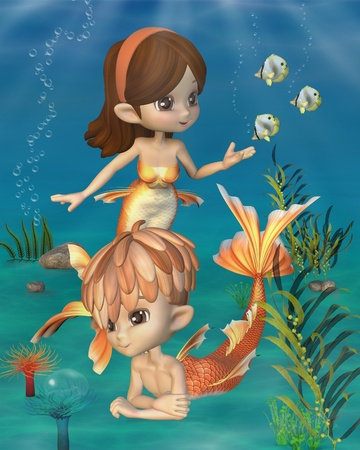 Cute toon style mermaid and merman with goldfish scales in an underwater scene, 3d digitally rendered illustration illustration
