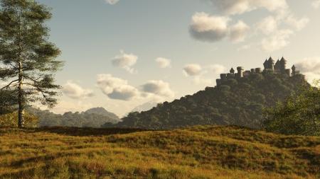 나무가 우거진 된 언덕에 먼 중세 또는 판타지 성, 3D 디지털 렌더링 된 그림