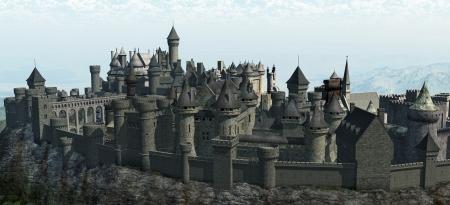 図は、中世の城の岩山岩山に 3 d レンダリングされたデジタル イラストレーション