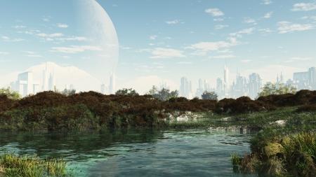 미래의 공상 과학 도시의 중심부에있는 평화로운 연못, 디지털 그림 렌더링 된 3D