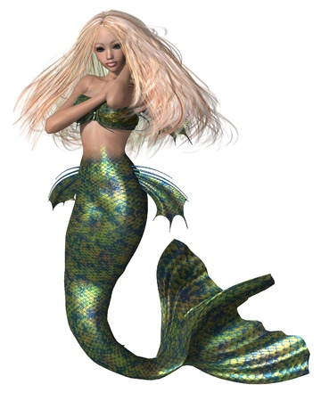 3d mermaid: Pretty blonde mermaid with green and blue fish scales, 3d digitally rendered illustration