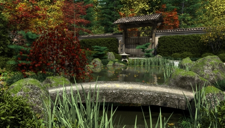 Japanese Garden And Koi Pond With Stone Bridge In Autumn Fall , 3d  Digitally Rendered Illustration