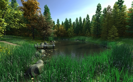 reeds: Woodland lake and jetty hidden in the reeds, 3d digitally rendered illustration Stock Photo