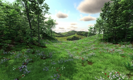 Countryside view with rural landscape of flowering meadow and rolling hills, 3d digitally rendered illustration