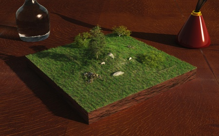 field glass: Miniature landscape with sheep and fields on a table top, 3d digitally rendered illustration Stock Photo