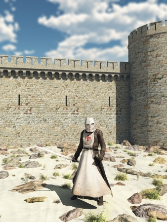 crusades: Illustration of an Early Medieval Templar Knight in chain mail and tabard standing in the desert outside the walls of Antioch in the Holy Land, 3d digitally rendered illustration