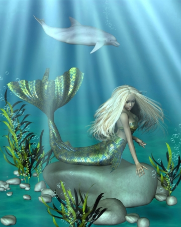 woman underwater: Illustration of a pretty blonde mermaid with green and blue fish scales lying on a rock in an underwater scene, 3d digitally rendered illustration