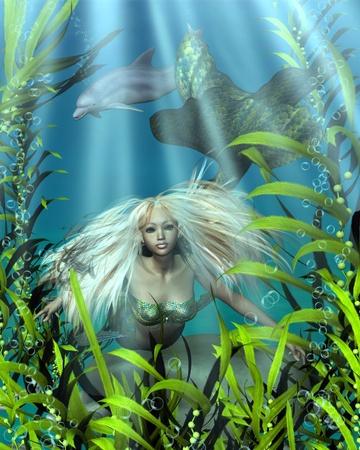 3d mermaid: Illustration of a pretty blonde mermaid with green and blue fish scales peering through the seaweed in an underwater scene, 3d digitally rendered illustration Stock Photo