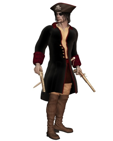 leather pants: Illustration of a Pirate Captain with pistols, hat with skull and cross bones and eyepatch, 3d digitally rendered illustration
