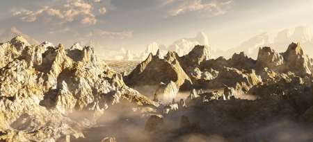 canyon: Rocky desert canyon landscape on an alien planet, 3d digitally rendered illustration