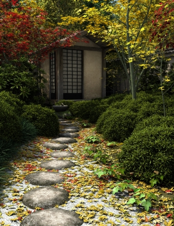 Japanese traditional tea house and garden with stepping stones, 3d digitally rendered illustration